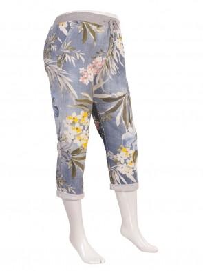 Plus Size Italian Tropical Print Cotton Trousers