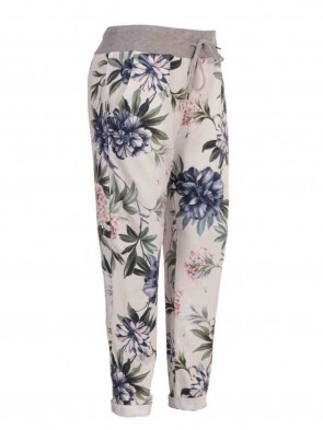 Plus Size Italian Tropical Print Cotton Trouser