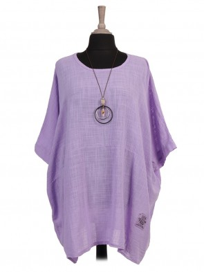 Plus Size Italian Tunic Batwing Top With Necklace