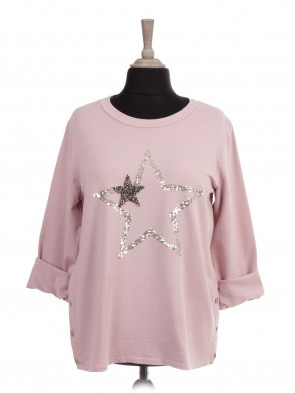 Italian Diamante And Sequin Star Top With Side Button Panel