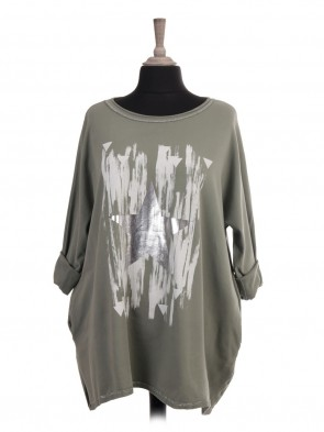 Italian Glossy Star and Glittery Trim Top With Side Pockets