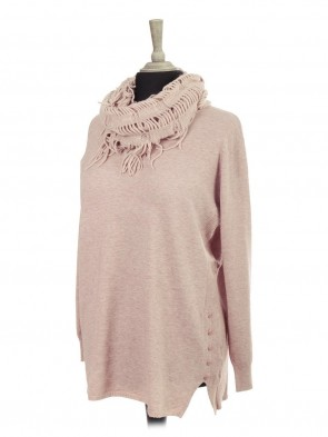 Italian Knitted Jumper With Side Button Panel And Mesh Scarf