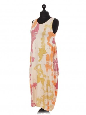 Italian Splash Print Sleeveless Lagenlook Dress